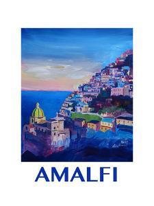 Amazing Amalfi Coast At Sunset - Retro Poster by Markus Bleichner