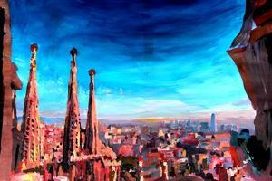 Barcelona City View and Sagrada Familia by Markus Bleichner