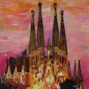 Barcelona with Sagrada Familia and Vanilla Sky by Markus Bleichner