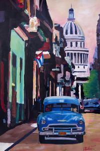 Cuban Oldtimer Street Scene in Havanna Cuba with B by Markus Bleichner