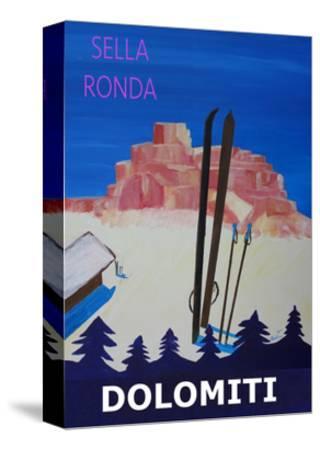 Dolomiti Sella Ronda Retro Ski Poster