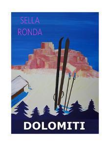 Dolomiti Sella Ronda Retro Ski Poster by Markus Bleichner