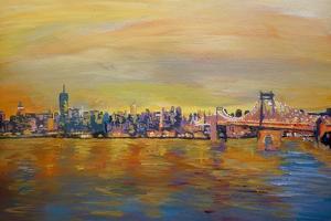 Golden Manhattan Skyline with One World Trade Center by Markus Bleichner