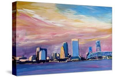 Jacksonville Florida Skyline With Bridge At Sunset