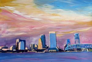 Jacksonville Florida Skyline With Bridge At Sunset by Markus Bleichner