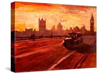 London Taxi Big Ben Sunset with Parliament
