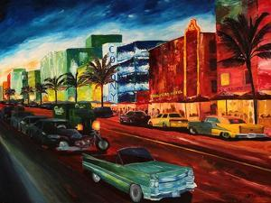 Miami Ocean Drive with Mint Cadillac by Markus Bleichner