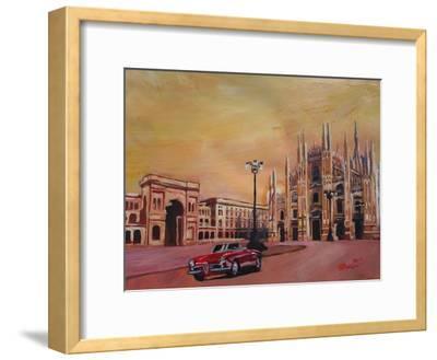 Milan Cathedral with Oldtimer Convertible Alfa Romeo
