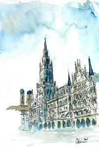 Munich City Hall with Church of Our Lady by Markus Bleichner