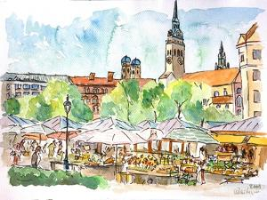 Munich Market Scene with Trees and Church by Markus Bleichner