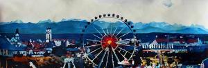 Munich Oktoberfest Panorama with Alps and Giant Wheel by Markus Bleichner