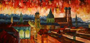 Munich with Alps at dusk by Markus Bleichner
