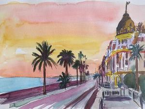 Nice France Seaview Boulevard at Sunset by Markus Bleichner