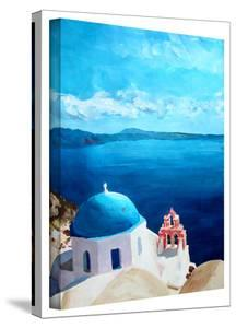 'Oia Santorini with Blue Sky' Gallery-Wrapped Canvas by Markus Bleichner