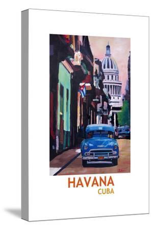 Poster Havana Cuba Street Scene Oldtimer Retro