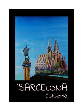 Retro Vintage Poster of Barcelona with Columbus