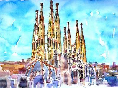 Sagrada Famila in Barcelona with Blue Sky