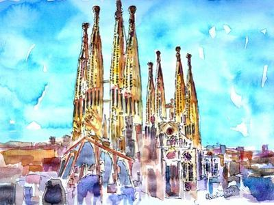 Sagrada Famila in Barcelona with Blue Sky by Markus Bleichner