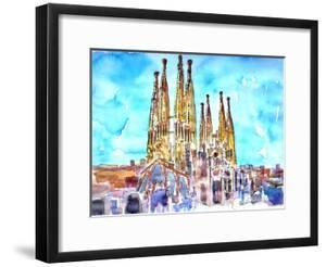 Sagrada Famila in Barcelona with Blue Sky by Markus Bleichner