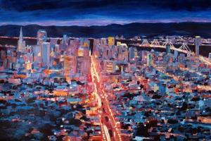 San Francisco - Market Street Night from Twin Peak by Markus Bleichner