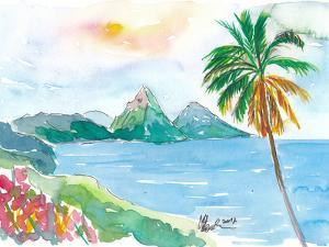 St Lucia Caribbean Dreams With Sunset And Pitons Peaks by Markus Bleichner