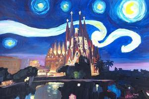 Starry Night Barcelona - Van Gogh Sagrada Familia by Markus Bleichner