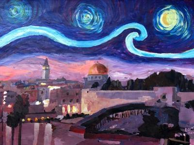 Starry Night in Jerusalem over Wailing Wall by Markus Bleichner