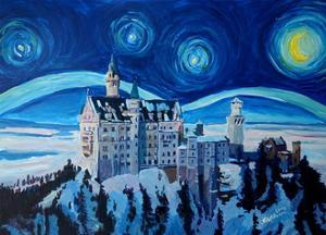 Starry Night in Neuschwanstein - Romantic Castle by Markus Bleichner
