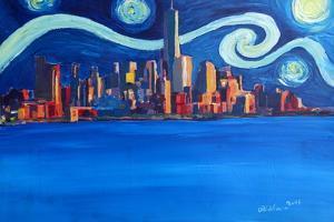 Starry Night in New York City Manhattan Skyline by Markus Bleichner