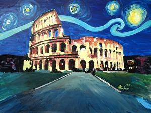 Starry Night over Coliseum in Rome Italy with Van by Markus Bleichner