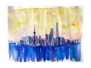 Stunning Shanghai Skyline in Watercolor by Markus Bleichner
