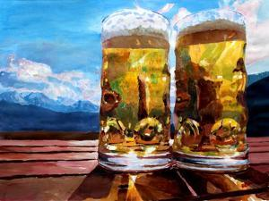 Two Glasses of Beer with Mountains by Markus Bleichner