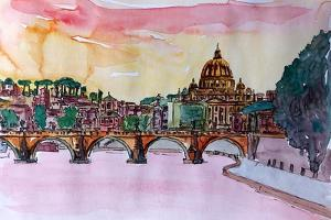 Vatican Rome Italy Sunset On River Tiber I by Markus Bleichner