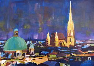 Vienna Skyline with St Stephan at Night by Markus Bleichner