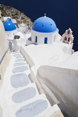 Church with Blue Dome with View of the Aegean Sea, Oia, Santorini, Cyclades, Greek Islands