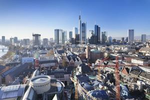 Frankfurt skyline with Paulskirche church, Roemerberg and financial district, Frankfurt, Hesse, Ger by Markus Lange