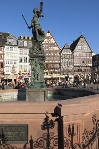 Justitia Fountain at Roemerberg square, Frankfurt, Hesse, Germany, Europe by Markus Lange