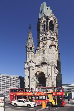 Kaiser Wilhelm Memorial Church and Sightseeing Bus at the Kurfurstendamm, Berlin, Germany