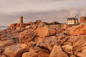 Lighthouse Meen Ruz, Ploumanach, Cote De Granit Rose, Cotes D'Armor, Brittany, France, Europe by Markus Lange