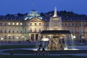 Neues Schloss Castle and Fountain at Schlossplatz Square by Markus Lange