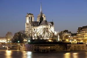 Notre Dame Cathedral and River Seine at Night, Paris, Ile De France, France, Europe by Markus Lange