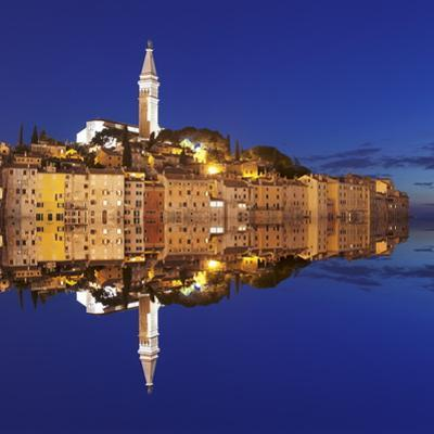 Old Town with Cathedral of St. Euphemia Reflecting in the Water at Night, Istria, Croatia, Europe by Markus Lange