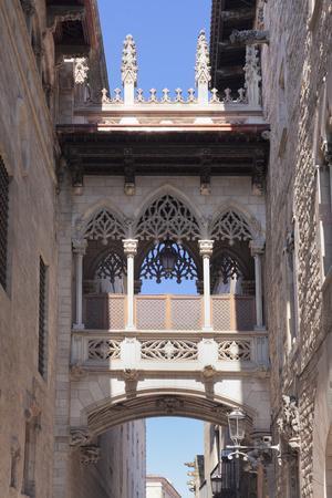 Pont del Bispe, bridge over Carrer del Bispe street, Palau de la Generalitat, Barri Gotic, Barcelon