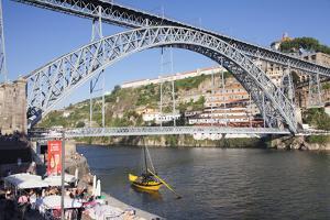 Rabelos boat on Douro River, Serra do Pilar Monastery, Ponte Dom Luis I Bridge, UNESCO World Herita by Markus Lange