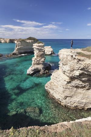 Rocky Coast with Stone Pillars, the Mediterranean Sea, Apulia, Italy