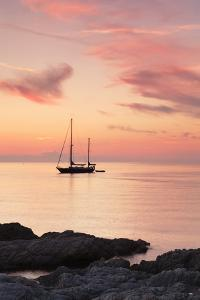 Sunset at the Coast Near Centuri Port, Corsica, France, Mediterranean, Europe by Markus Lange