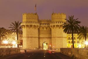 Torres De Serranos City Gate at Dusk, Valencia, Comunidad Valencia, Spain, Europe by Markus Lange