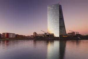 View over Main River to European Central Bank, Frankfurt, Hesse, Germany, Europe by Markus Lange