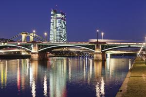 View over Main River to Ignatz Bubis Bridge and European Central Bank, Frankfurt, Hesse, Germany, E by Markus Lange