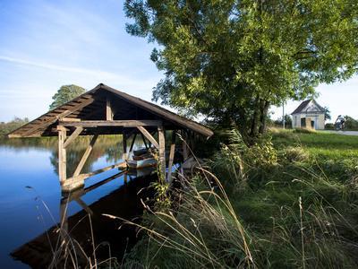 Boat Garage in the Schwaigfurt Pond Bad Schussenried, Baden-WŸrttemberg, Germany